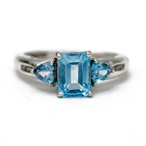 Three Stone Blue Topaz Ring
